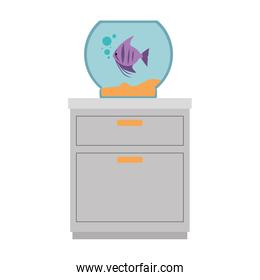 isolated aquarium bowl with colors fish in drawer