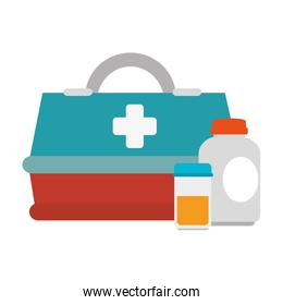 medical box with bottles drugs