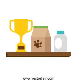 chelf pet shop with products and trophy