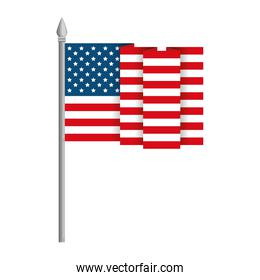 united states of america flag in pole with waves