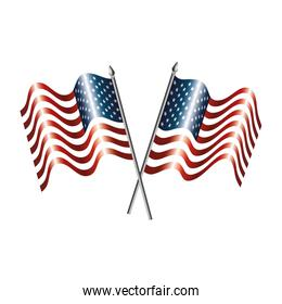 united states of america flags crossed