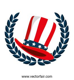 hat with united states of america flag and wreath crown