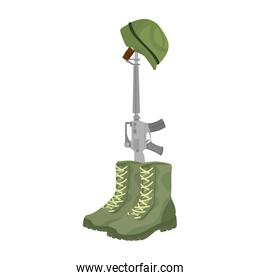 military boots with rifle and helmet