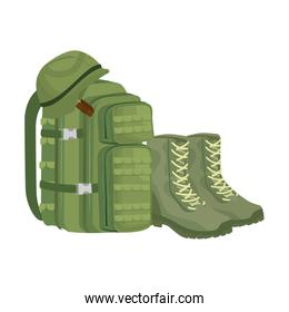 military bag with boots and helmet