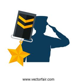 silhouette of military saluting with medal