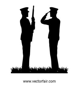 silhouette of military saluting and soldier