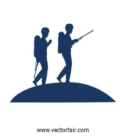 soldiers walking with rifles silhouette
