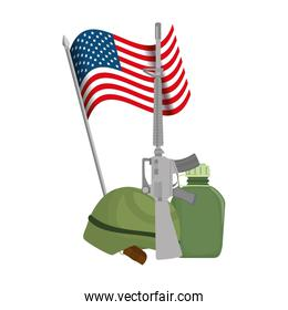 USA flag with military equipment