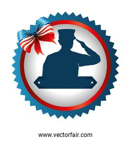silhouette of military saluting with bown