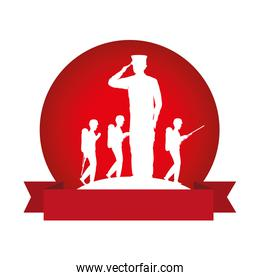 silhouette of military saluting with tropers