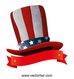 hat with united states of america flag with ribbon