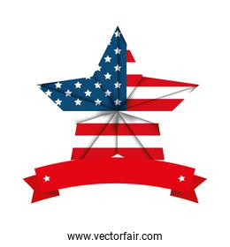 united states of america emblem with star shape and ribbon