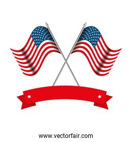 united states of america flags crossed with ribbon