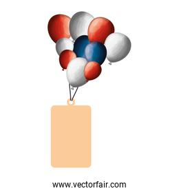 commercial tag with balloons air isolated icon