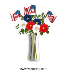 floral decoration with USA flags in vase, isolated icon
