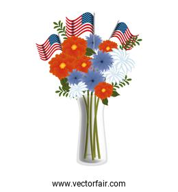 floral decoration with USA flags in vase
