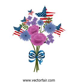 floral decoration with USA flags and bowtie