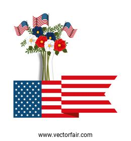 floral decoration with USA flags in vase and ribbon