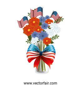 floral decoration with USA flags in vase and bowtie