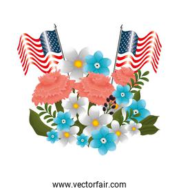 floral decoration with usa flags and ribbon frame