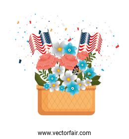 flowers with US flags in basket