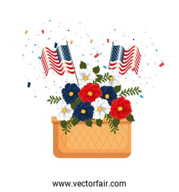 floral decoration with USA flags in basket