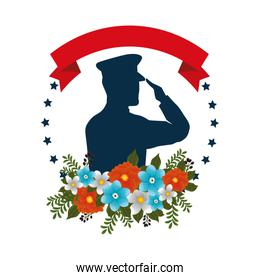 silhouette of military saluting with floral decoration