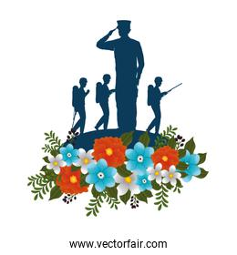 silhouettes of military with floral decoration