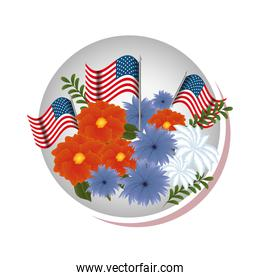 floral decoration with usa flags