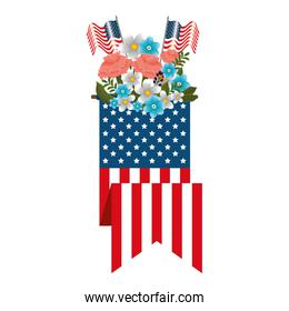 floral decoration with usa flags and ribbon
