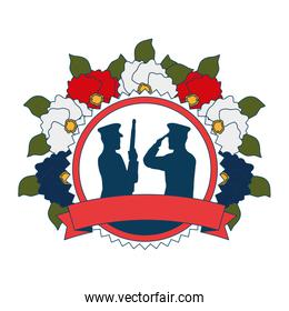 silhouettes of military with floral decoration ribbon