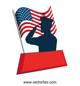 silhouette of military saluting with USA flag