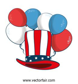hat with united states of america flag with balloons air