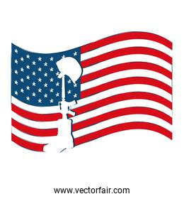 united states of america flag with boot riffle and helmet