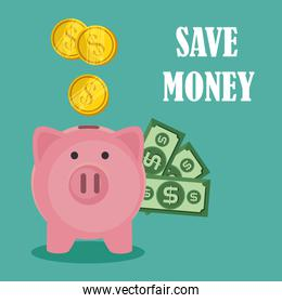 save money set icons