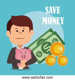businessman with save money icons