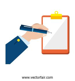 hand writing in clipboard checklist isolated icon