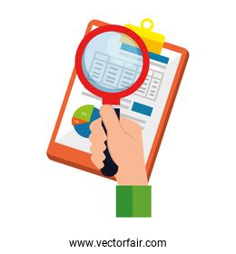 clipboard with statistics document and magnifying glass