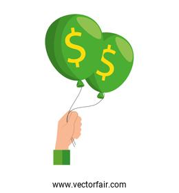 hands lifting balloons air party with dollars sign