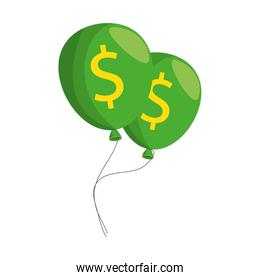 balloons air party with dollars sign