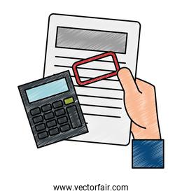 hand with document and calculator