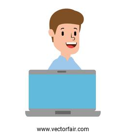 laptop with businessman avatar character
