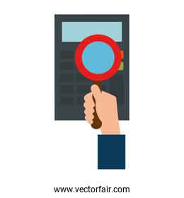 hand with magnifying glass and calculator
