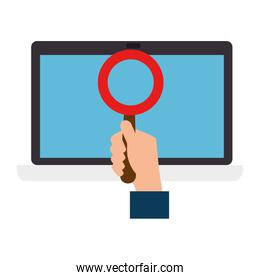 hand searching in computer laptop
