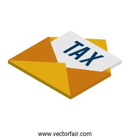 envelope mail with tax document isometric icon