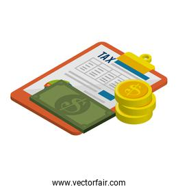 clipboard with tax document and money