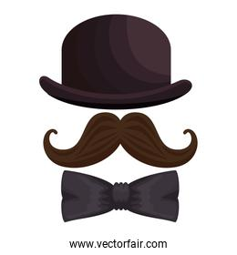 hat with mustache and bowtie