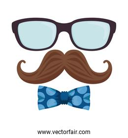 glasses and mustache with bowtie hipster style