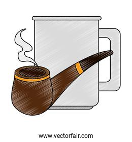 coffee cup with pipe wooden