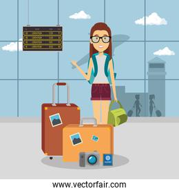 woman traveler in the airport
